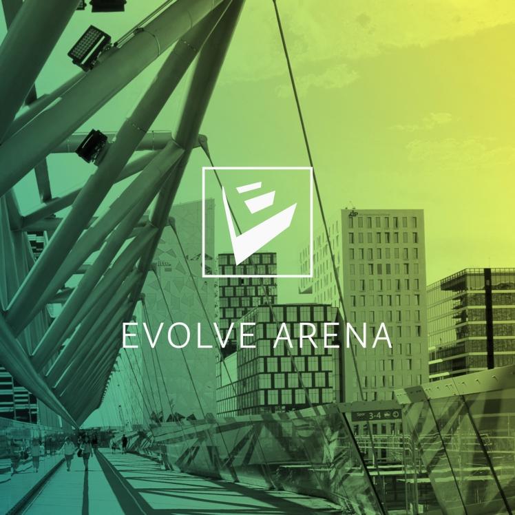 Evolve kvadratisk med logo